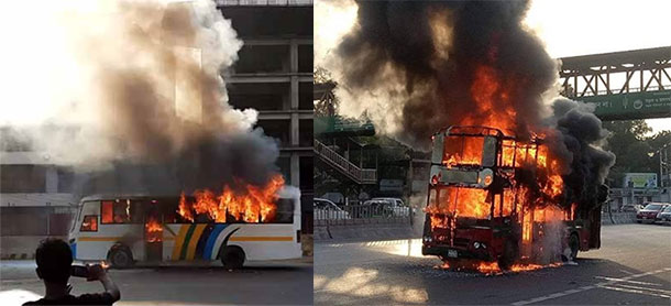 Two buses catch fire in city